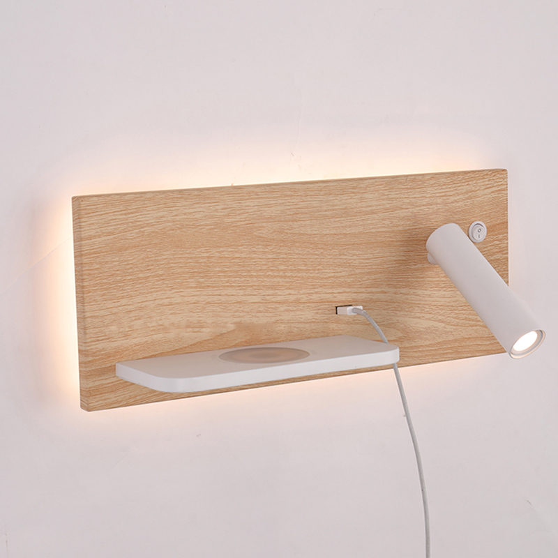 ZEROUNO Modern Hotel Wall Lamp Wall Lights Fixture Bed Room Headboard Reading Lamp Night Led Wireless USB Charger Backlit Lights