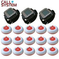 Wireless Restaurant Calling Paging System Waiter Call Bell Pager 3 Watch Receiver + 15 Call Button