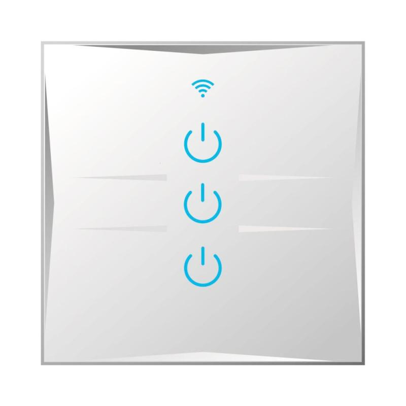 3 CH Wireless Light Wall Switch EU/UK Plug Touch Panel APP Remote Control Supported Timing Schedules Scene Remote Control DS20 smart home eu touch switch wireless remote control wall touch switch 3 gang 1 way white crystal glass panel waterproof power