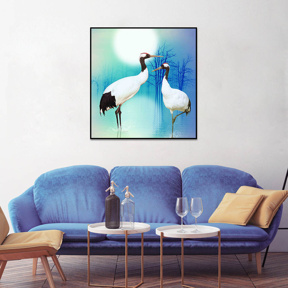 Unframed Canvas Prints Art Painting Full Moon Crowned Crane Dry Tree Prints Wall Pictures For Living Room Wall Art Decoration