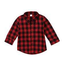 FOCUSNORM/хлопковые топы в клетку с длинными рукавами и отложным воротником для маленьких мальчиков и девочек, рубашка, одежда