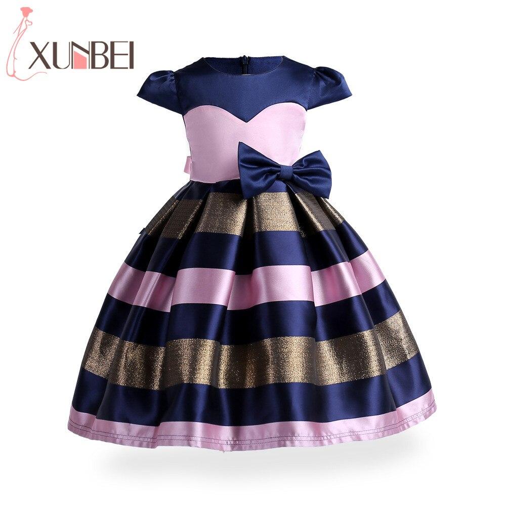 New Christmas Patchwork Pink Blue Flower Girl Dresses 2019 Cap Sleeves Knee Length Kids Pageant Dresses Vestidos De Comunion