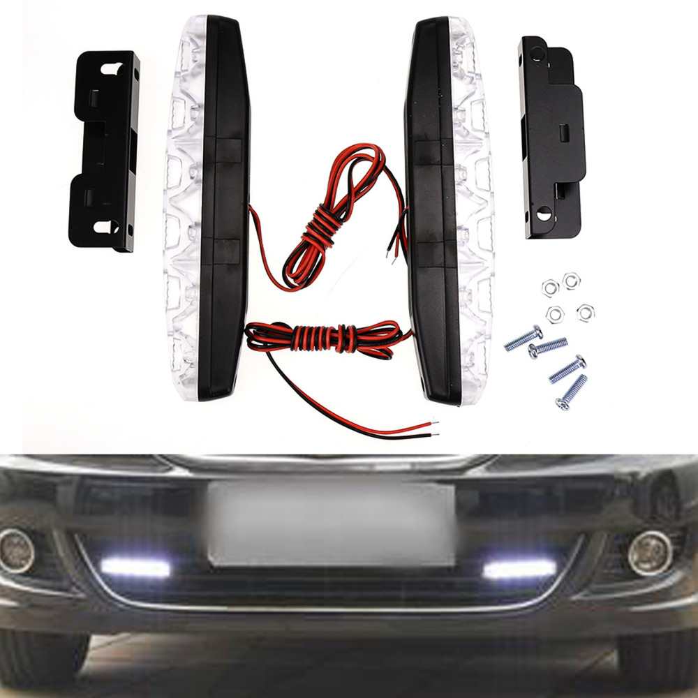 2PCS LED Car Daytime Running Light Bar DRL Daylight Running Lamp with Turn Signals Super Bright Day Time Day Running Light Lamps 2pcs square 21cm bendable led daytime running light 100