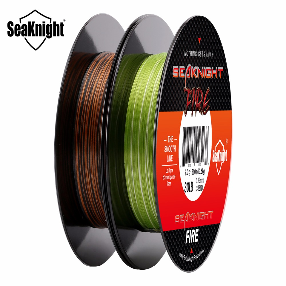 SeaKnight FIRE Series 300M Fire Fishing Line Camo Dual-Color Fire Filament  PE Line Ultra-Casting 6 8 10 15 20 25 30 35 40LB