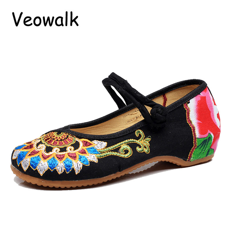 Veowalk Autumn Fashion Women's Shoes,Ladies Old Peking Flats With Buddhism Totem Embroidery Soft Sole Casual Shoes Plus Size vintage embroidery women flats chinese floral canvas embroidered shoes national old beijing cloth single dance soft flats