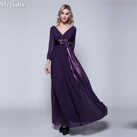 ZJ0059 Cheap party evening dresses 2018 Mother of the Bride dresses Chiffon Plus size Long Evening gown Backless dress with Bow