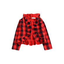 Spring and autumn boys girls red Buffalo plaid ruffle coat