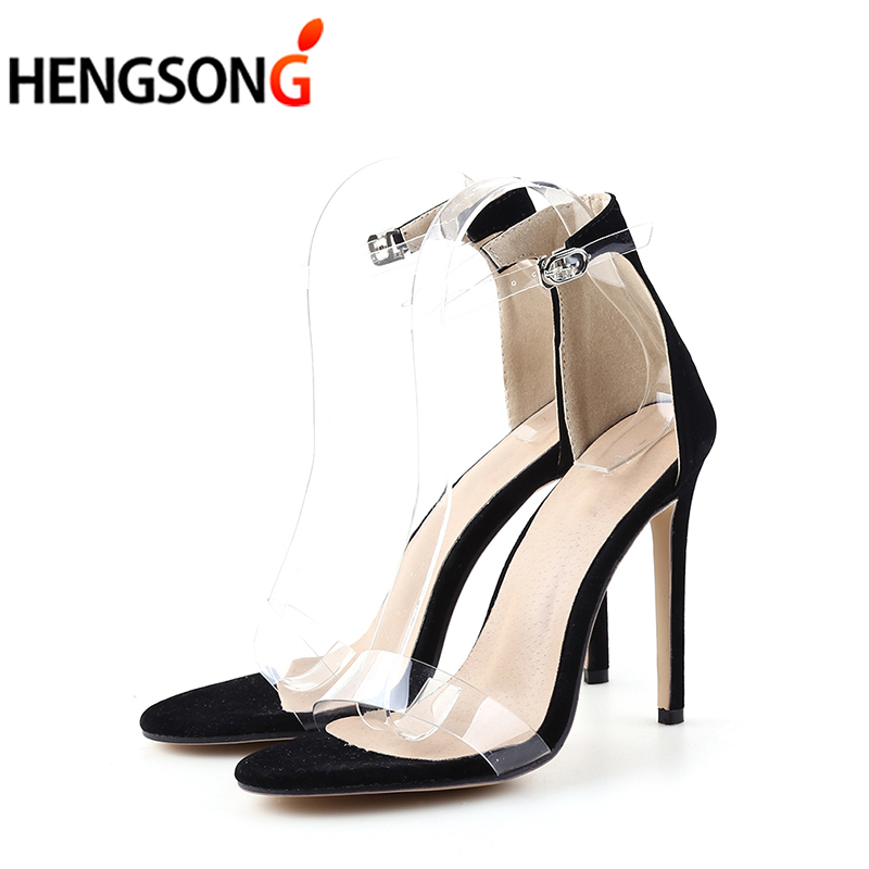 2018 Summer Women Sandals Fashion Party Wedding Catwalk Shoes Pumps Ladies Supper High Thin Heel 11.5cm Sandal Shoes Sexy Black 2017 fashion stiletto heel sandal army green cross weaving sandals wedding party dress shoes women wholesale drop shipping