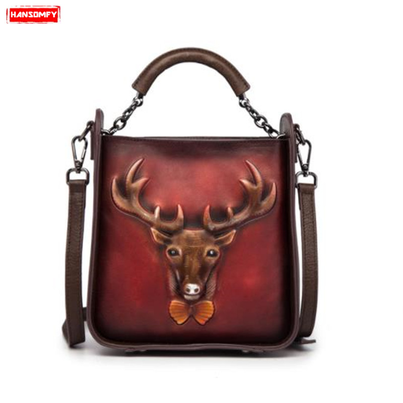 Women's Handbags Retro Embossed Genuine Leather Female Shoulder Messenger Bags Handmade Rub Color Stitching Bucket Bag