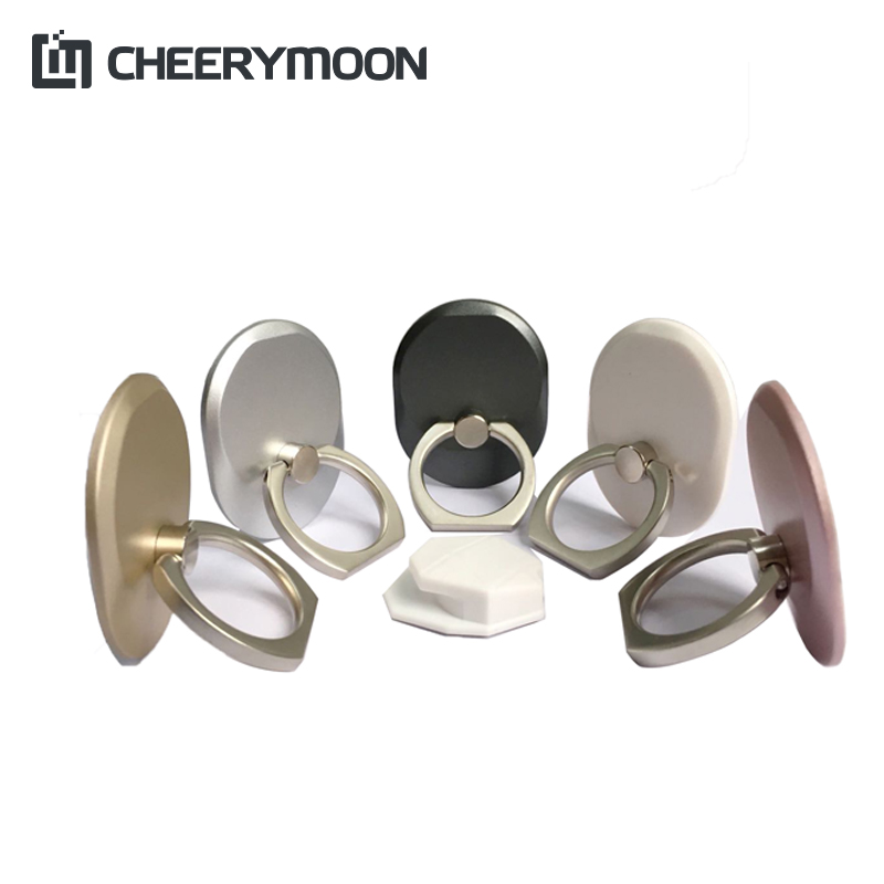 CHEERYMOON Q Series 6 Färger Hållare Universal Mobiltelefon Ring 3D IRE Metal Stand Finger Grip Stand För IPhone Full Tracking