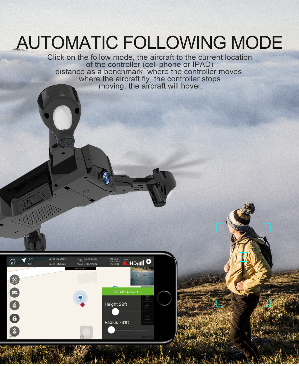 Global Drone Foldable GPS Follow Drone with Camera Full HD RC Quadcopter Profissional FPV Drones Quadrocopter VS VISUO XS812 7