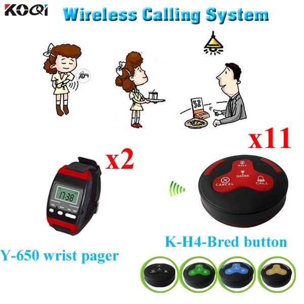 Système de radiomessagerie de serveur d'appel sans fil 2 pièces Y-650 téléavertisseur de montre-bracelet et 11 pièces boutons de K-H4 livraison DHL gratuite