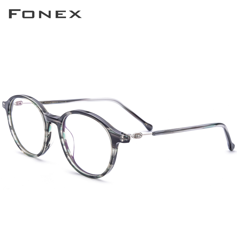FONEX Acetate Optical Glasses Frame Women Vintage Round Myopia Prescription Eyeglasses Men Spectacles Screwless Eyewear 5202