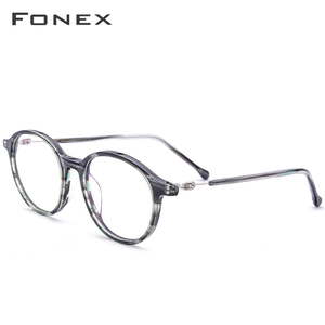 FONEX Acetate Optical Glasses Frame Women Vintage Round Myopia Prescription Eyeglasses Men Spectacles Screwless Eyewear 5202