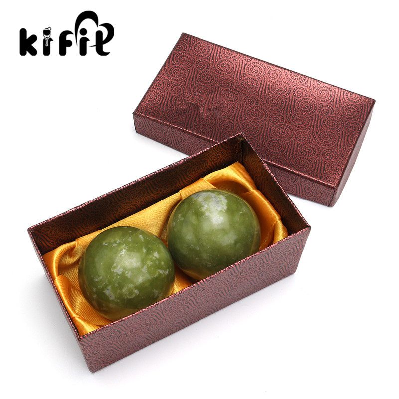 KIFIT 2pcs Chinese Health Exercise Stress Natural Jade Stone BAODING Balls Relaxation Relief Therapy Hand Care Tool kifit newest chinese health daily exercise stress relief handball baoding balls relaxation therapy ying yang blue massage tool