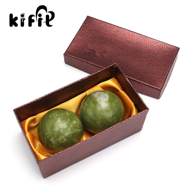 KIFIT 2pcs Chinese Health Exercise Stress Natural Jade Stone BAODING Balls Relaxation Relief Therapy Hand Care Tool