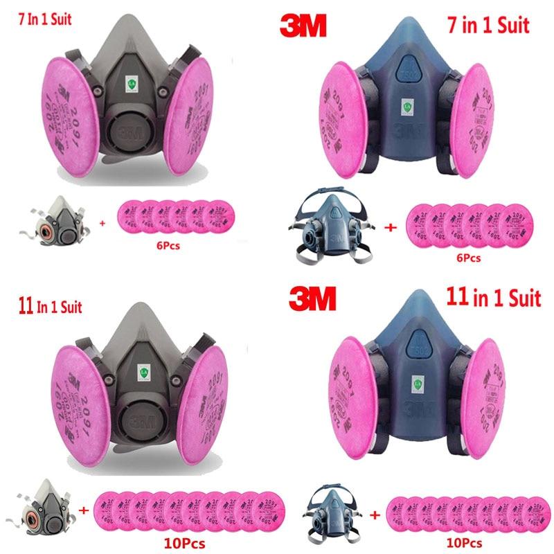 3 Mt 6200 7502 Lackierpistole Halb atemschutzmaske Gasmaske mit 3 Mt 2091 Filter Anzug Industrie Sicherheit Staubdicht maske