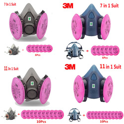 3M 6200 7502 Paint Spray Half face Respirator Gas Mask With 3M 2091 Filter Suit Industry Safety Security Dust Proof Mask