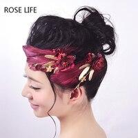 ローズライフwomenflowerフェザーレース糸ヘアクリップヘアピンヘアネクタイ結婚式のヘアグリップのヘアバンド頭飾りブライ