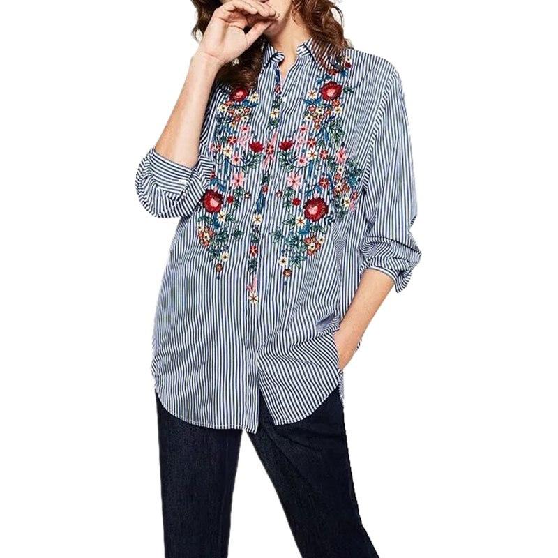 Bordado de Flores las mujeres de Rayas Blusas Camisa Femininas blusas de Moda Ca