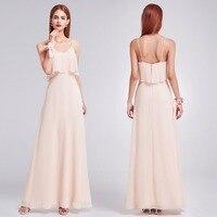 Elegant Bridesmaid Dresses Ever Pretty EP07131 Ruffles Spaghetti Strap Floor Length Party Gown Long Blush Chiffon Beach Dresses