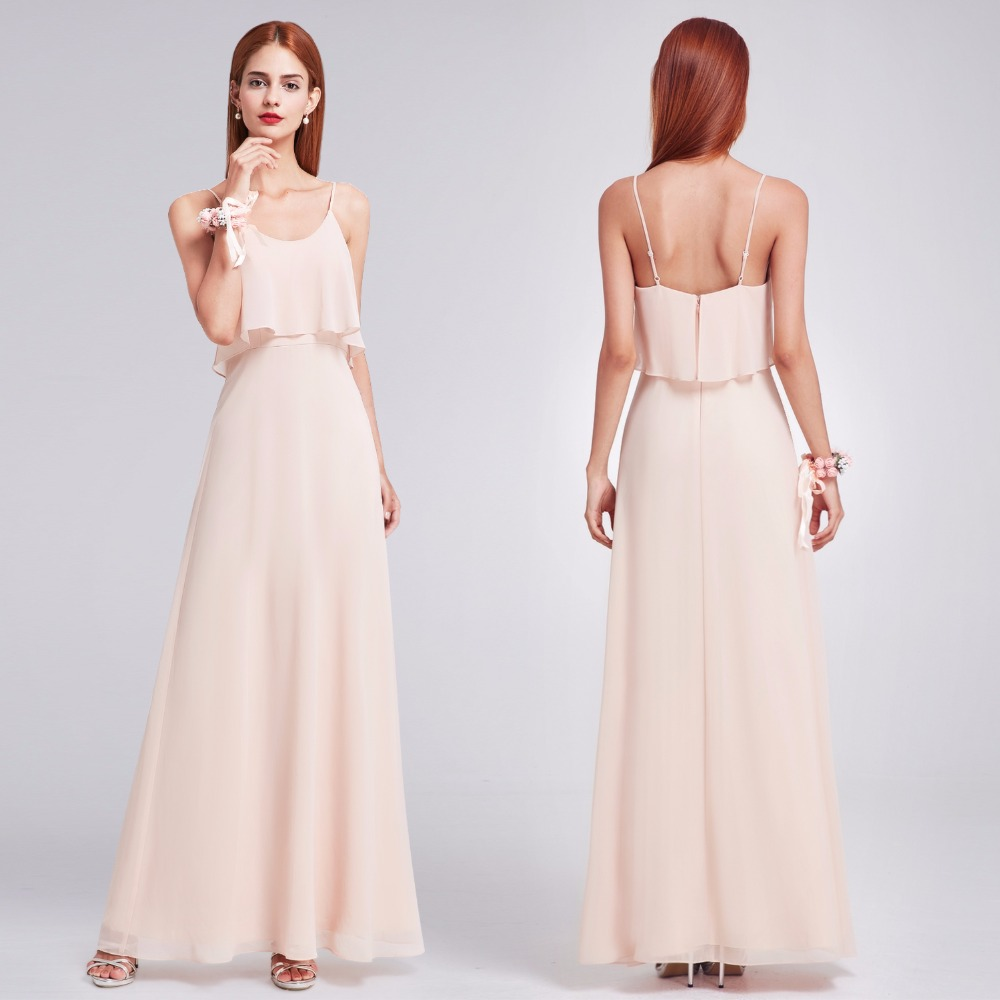Elegant   Bridesmaid     Dresses   Ever Pretty EP07131 Ruffles Spaghetti Strap Floor Length Party Gown Long Blush Chiffon Beach   Dresses