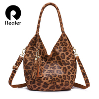 REALER Brand Fashion Women Genuine Leather Shoulder Bags Ladies Crossbody Bags Spring New Large Capacity Women