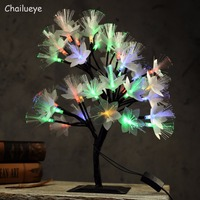 LED Cherry Tree Night Lights Luminarias Holiday Lighting Fairy Optical Fiber Table Lamps Christmas Party Indoor Home Decor