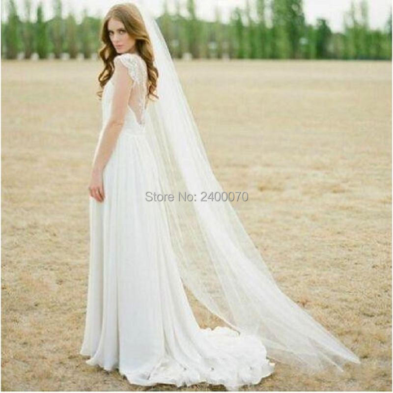 Aliexpresscom  Buy 2016 In Stock Simple Bridal Veils Cheap Soft Tulle Long Veil Cathedral