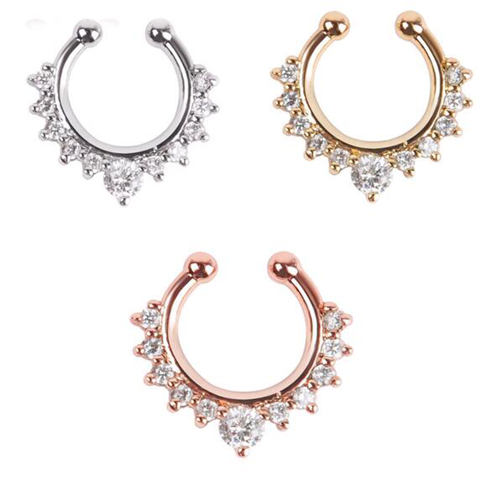Nose Ring Fake Septum Clicker Non Piercing Hanger Clip On Crystal Jewelry YW