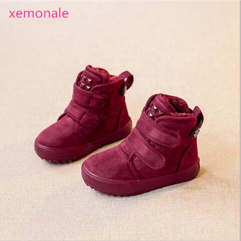 Hot Sale Kinder Stiefel Brand Children Boots Boys Casual High-Top Girls Warm Shoes For Kids Snow Boots Black Gray Wine Red Brow