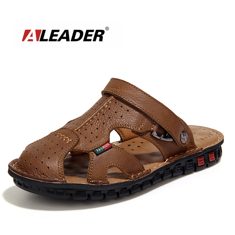 Mens Casual Leather Beach Shoes