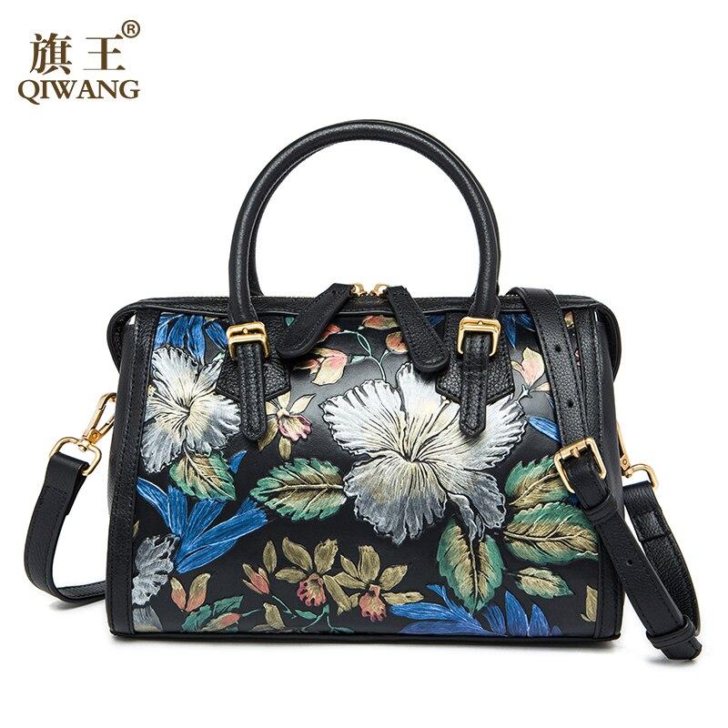 QIWANG Flower Boston Women Handbag Brand QIWANG Luxurious Flower Bag Feminina Lu