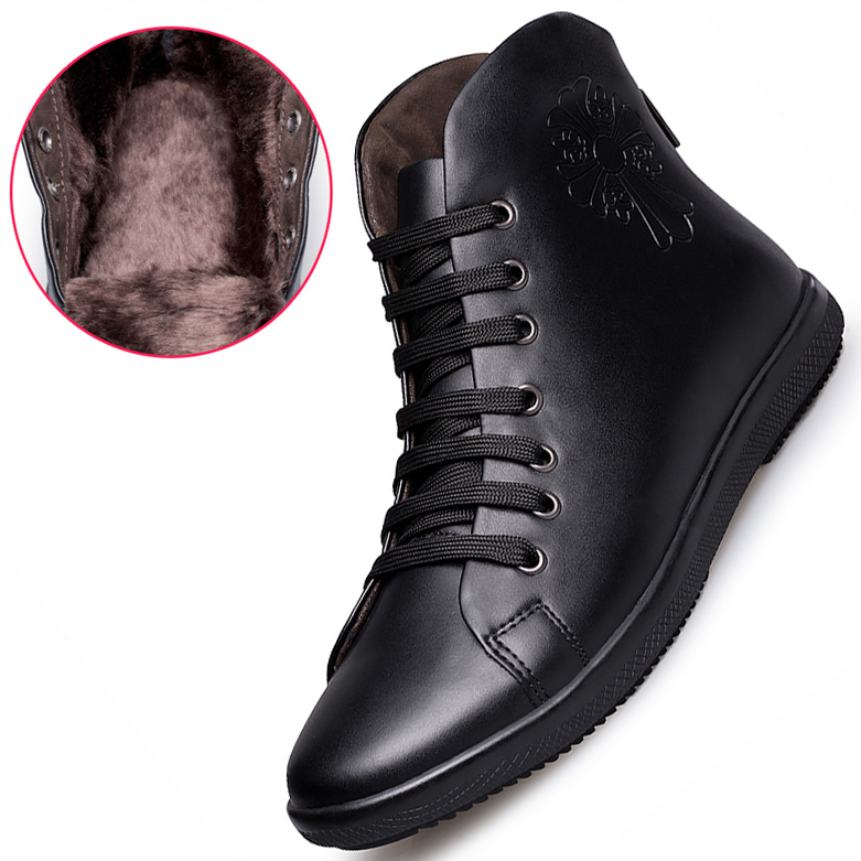 Fashion Super Warm Men Boots Plus Velvet Genuine Leather Quality Brand Snow Winter Boots Autumn Ankle