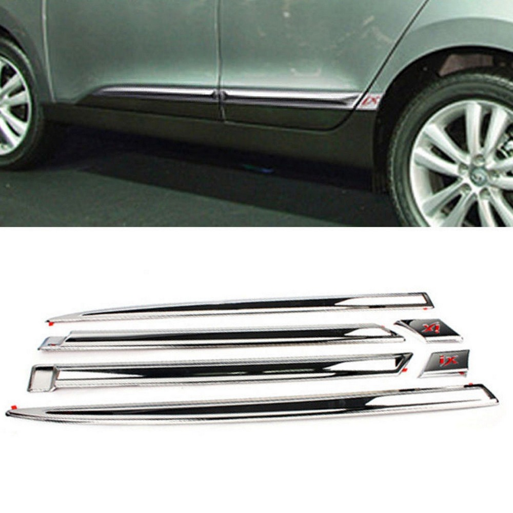 Chrome Side Door Skirt Garnish Molding For HYUNDAI 2010-2013 Tucson ix /ix35 accessories fit for 2013 2014 2015 2016 hyundai grand santa fe side door line garnish body molding trim cover