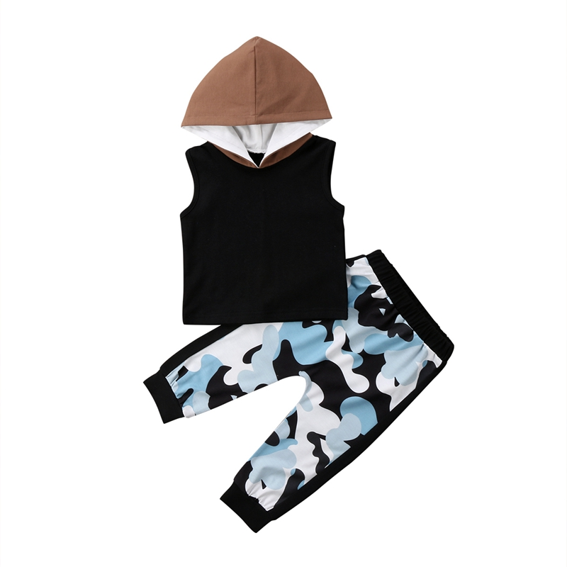 Newborn Kids Baby Girl Boy Summer New Fashion Casual Sleeveless Hooded Vest Tops+Camouflage Pants Outfits Sets 0-24M HOT SALE