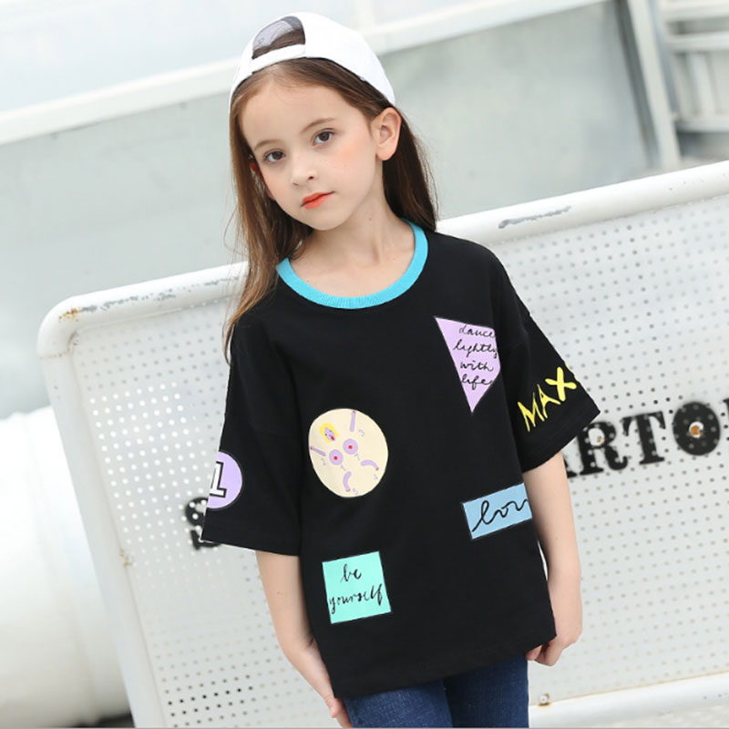 2018 Summer Big Girls Tops Cotton Kids Girl Half Sleeves T ...