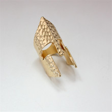 1pc boho vintage silver color shield finger ring punk mens jewelry gold tone helmet joint rings for womens