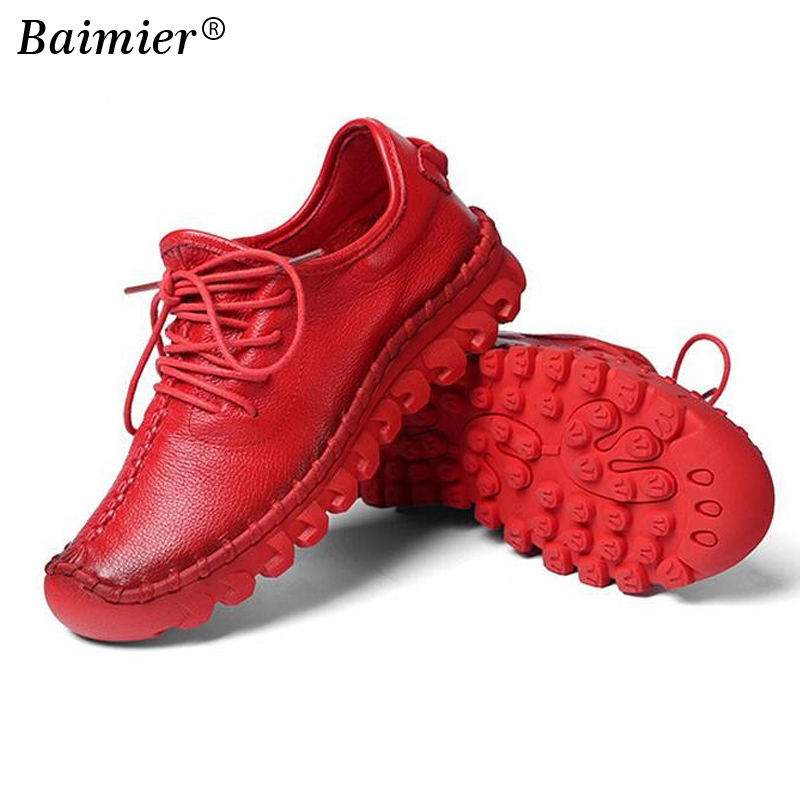 Nieuwe vrouwen lederen schoenen Hoge kwaliteit handgemaakte comfortabele zachte schoenen Vrouwen vrije tijd Casual lopen Mama schoenen
