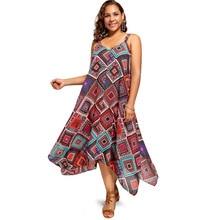 Summer Dress Women Plus Size Retro Boho Beach dress Spaghetti Strap Geometric Print Handkerchief sexy Dress sundress robe femme недорого