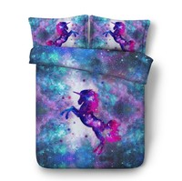 Unicorn Bedding set 3D Luxury Comforter quilt duvet cover bed in a bag sheet Super California King Queen size twin doona 5PCS