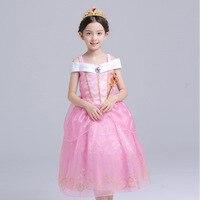Abgmedr جديد أزياء فتاة أورورا اللباس الفتيات ملابس الأطفال chothing فتاة الاطفال عيد ارييل الموسمية الفتيات فساتين الوردي