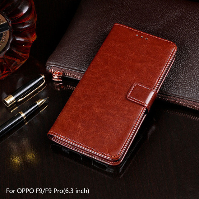 low priced 9d108 f0920 US $4.49 10% OFF|Aliexpress.com : Buy For OPPO F9 Pro Case 6.3 inch Luxury  Flip PU Wallet Leather Case For OPPO F9 Pro Fundas Magnetic Phone Bags ...