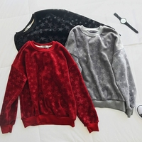 New Autumn Winter Casual Warm Thick Velour Sweatshirt Women Vintage Embossing Pullovers Coat Geometric O Neck Pleuche Tops Mw494
