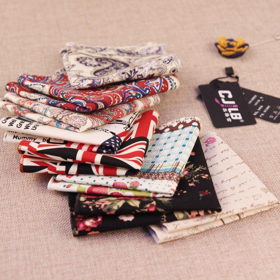 10pcs/lot  New Fashion Designer Mens Print Paisley Floral Pocket Squares Handkerchief Hankies Cotton Wedding Accessories