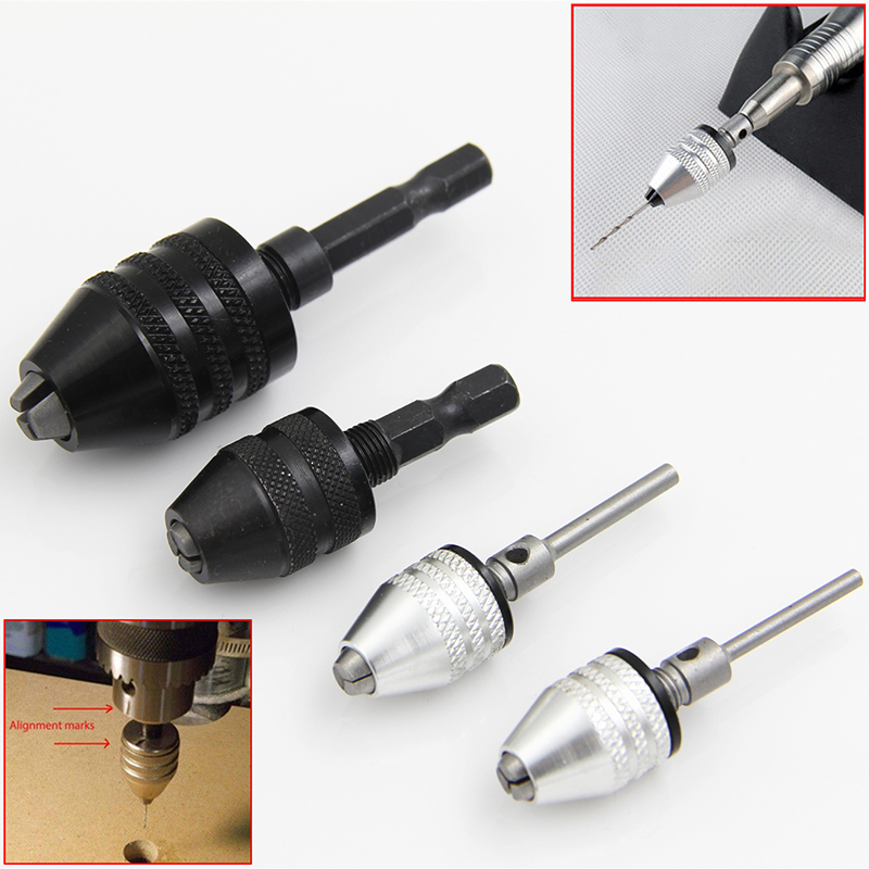 1pc Mayitr Keyless Drill Bit Chuck Adapter Hex Shank Quick Change Converter For Power Tool
