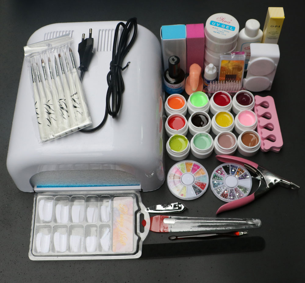 New Pro Full 36W White Cure Lamp Dryer & 12 Color UV Gel Nail Art Tools Sets Kits BTT-90 free shipping em 123 free shipping pro full 36w white cure lamp dryer