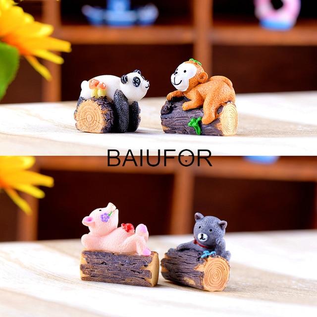 BAIUFOR Miniatures Tree Stump Animals Terrarium Figurines Fairy Garden Miniature Resin Craft Children Toys Cat Pig Monkey Panda