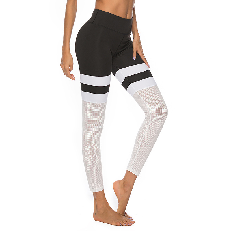Women 39 s Fitness Stitching Leggings High Waist Yoga Pants Nylon Elasticity No Traces Breathable Women 39 s Jogging Tracks in Yoga Pants from Sports amp Entertainment