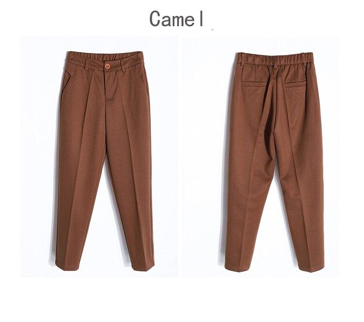 19 Autumn New Women Elastic Woolen Pant Female Plus Size Casual Trousers Black/Gray Harem Pants Winter Wool Ankle-Length Pants 40